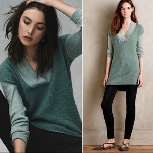 Anthro Moth Boucle Mint Colorblock Wool Sweater